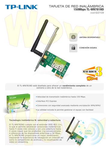 adaptador inalambrico pci-e 150mbps tplink antena desmontabl