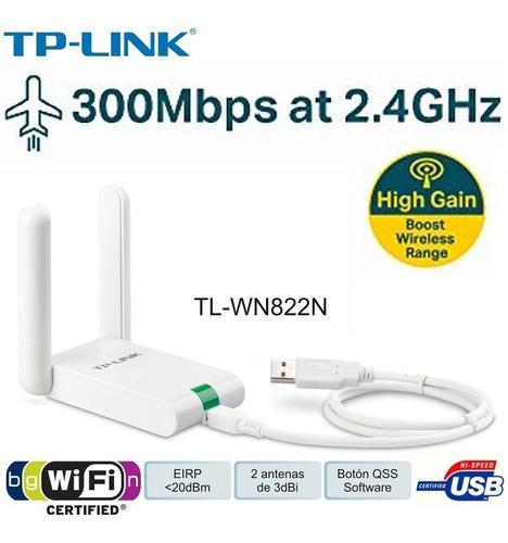 adaptador inalambrico usb tp-link tl-wn822n 300mb 2 antena alta ganancia