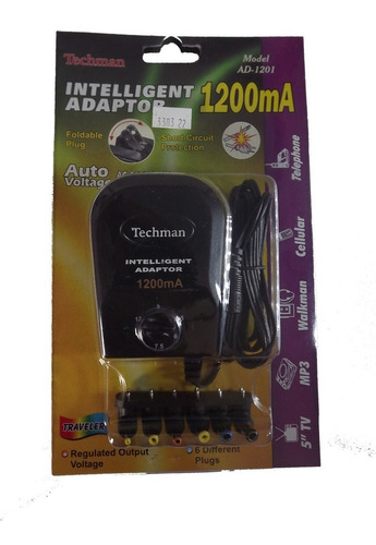 adaptador inteliegente 1200mah techman ad-1201