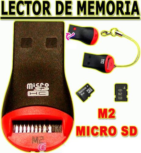 adaptador lector de memoria m2 / micro sd a usb p/ android