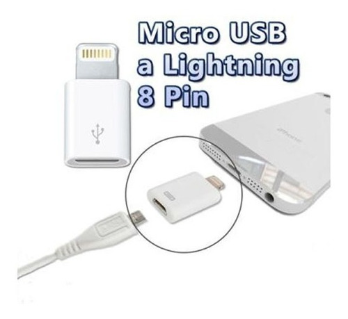 adaptador lightning a microusb v8 iphone ipad titan belgrano