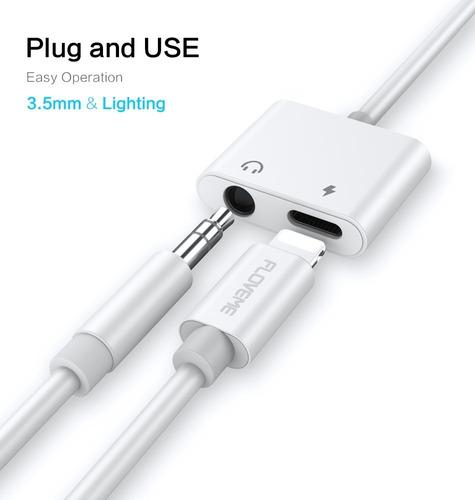 adaptador lightning + audio jack 3.5mm para iphone 7 al 11