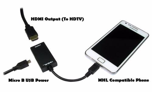 adaptador mhl(micro usb) a hdmi. smartphones y tablets al tv