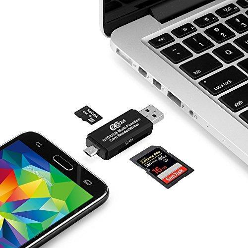 adaptador micro usb otg a usb 2.0; lector de tarjetas sd / m