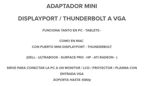 adaptador mini displayport a vga para pc notebooks tablets