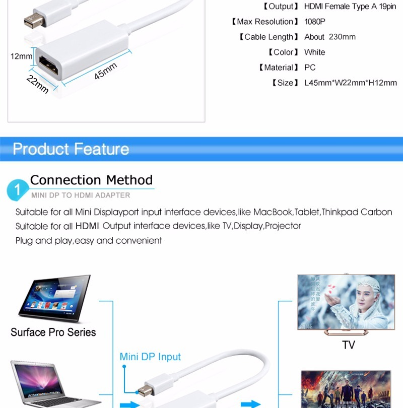 Adaptador Mini Dp Displayport A Hdmi Macbook Pro Aire - $ 12.300 en ...