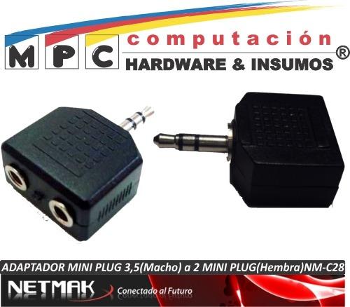 adaptador mini plug 3,5 macho a 2 mini plug hembra nm-c28