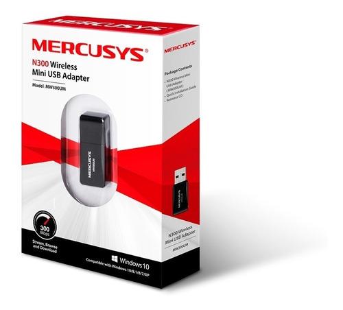 adaptador mini usb 2.0 mercusys mw300um, negro, 300 mbit/s