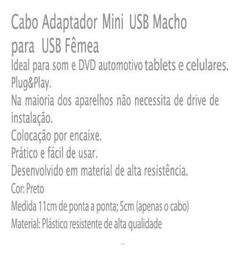adaptador mini usb v3 macho usb femea otg celular gps