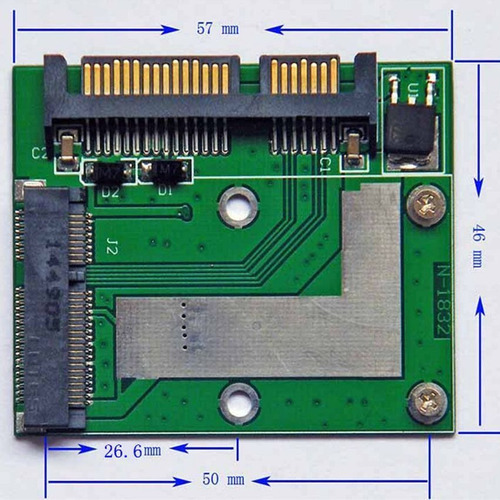 adaptador msata a sata 3 6.0 gb/s para discos solidos ssd