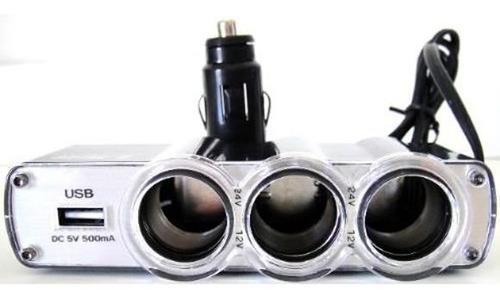 adaptador multiplicador triplo 12v 24v veicular usb isqueiro