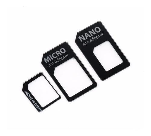 adaptador nano sim + micro sim + micro a sim chip celular