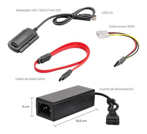 adaptador noga 2.0 usb a sata disco rigido 2,5 / 3,5 ssd