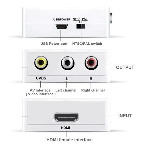 adaptador o mini convertidor  hdmi a rca (cvbs+audio)