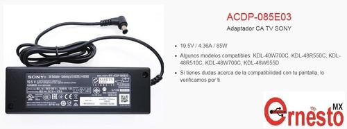 adaptador original pantalla led sony 19.5v/4.36a acdp-085e03