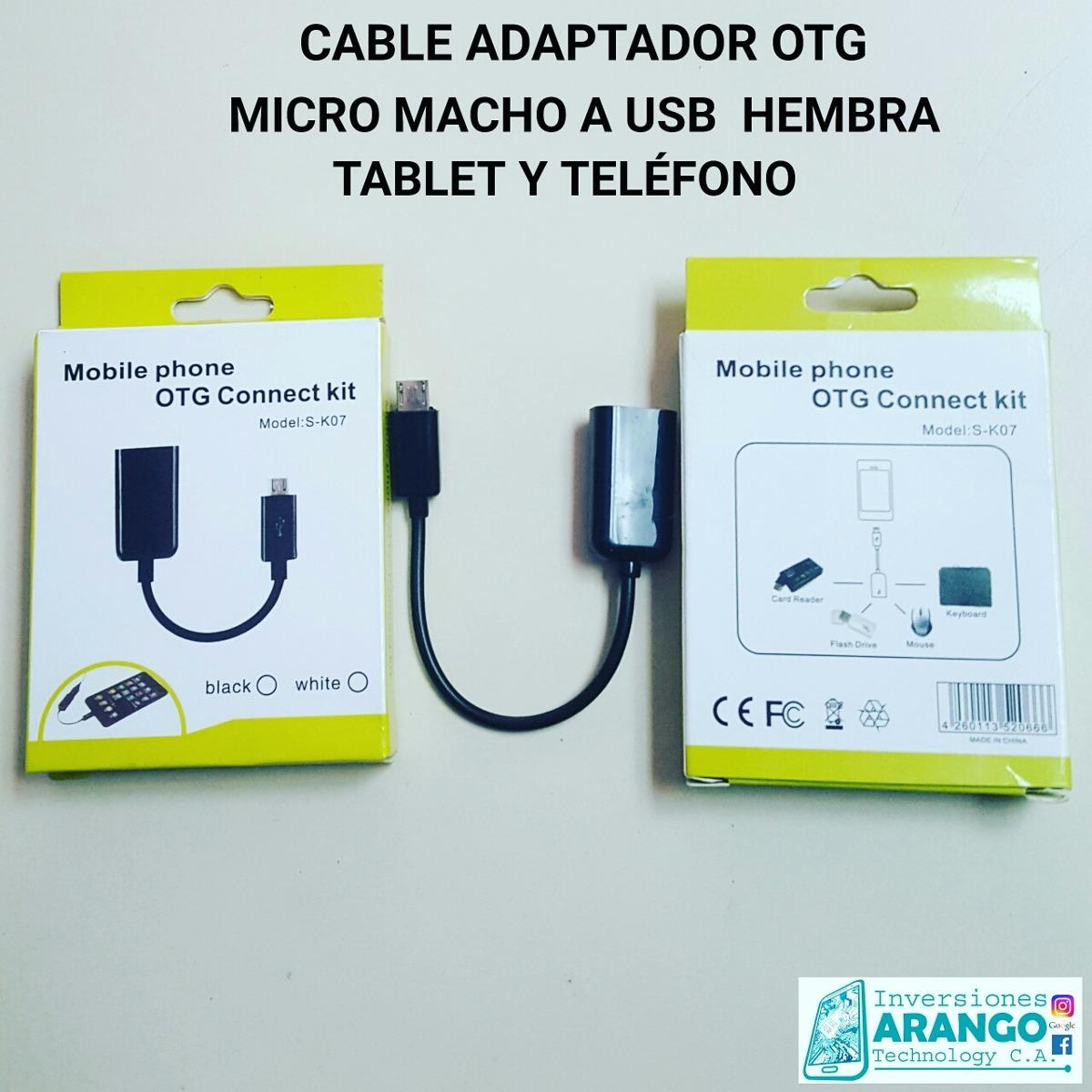 Adaptador Otg Macho Micro A Hembra Usb Tablet Y Telfono Bs 1000 Kabel Connect Kit Model S K07 Cargando Zoom