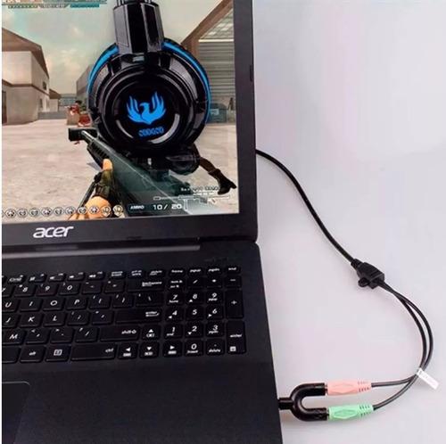 adaptador p2 x p3 combo fone microfone headset console