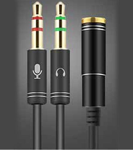 adaptador p3 fêmea para 2 p2 (fone/microfone) black 32cm