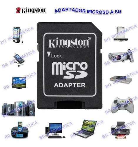 adaptador para memoria microsd a sd celular gps camaras pc