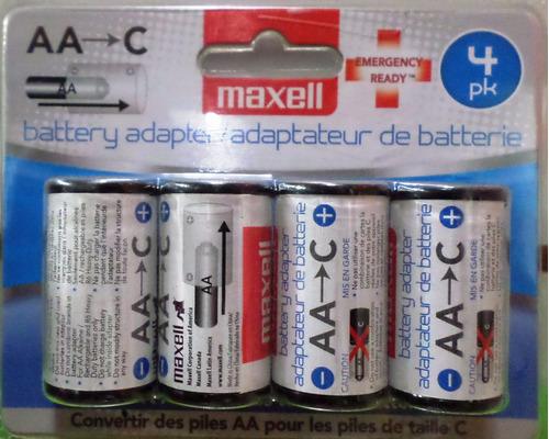 adaptador pilas maxell convierta tipo a en tipo c y ahorre