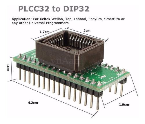 adaptador plcc32 para dip32 programador universal de eprom
