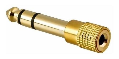 adaptador plug 6.3mm a mini plug hembra 3.5mm stereo dorado
