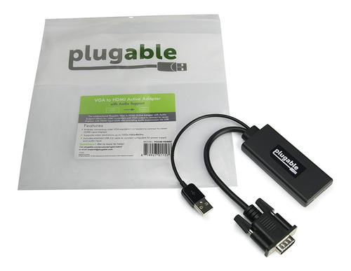 adaptador - plugable vga a hdmi - 1080p - activo con audio