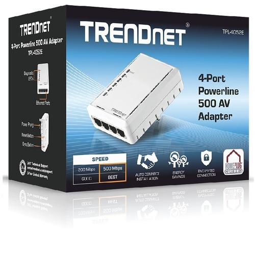 adaptador powerline trendnet 500av 4 puertos + rapido q wifi