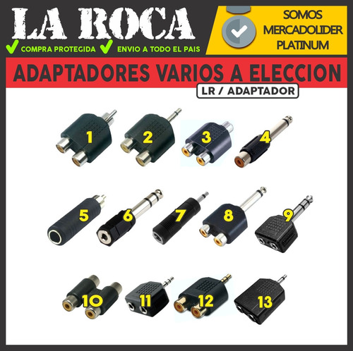 adaptador rca plug 6.5 miniplug 3.5 macho hembra mono stereo