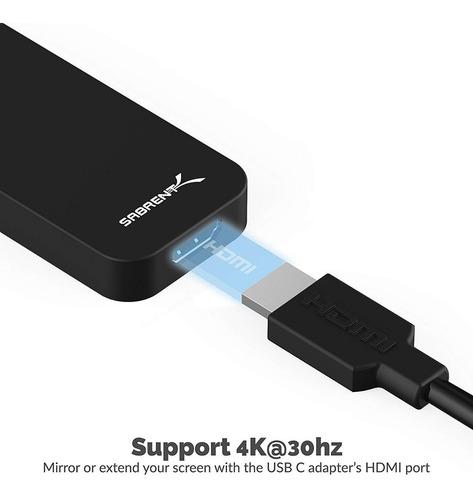 adaptador - sabrent - usb-c - 2 port usb 3.0 + hdmi - pc/mac
