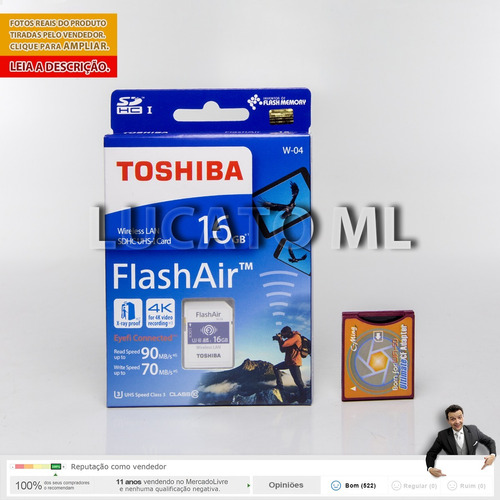 adaptador sd p/ compactflash ii +sd wifi toshiba 16gb w04 ap