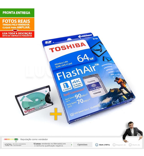 adaptador sd para cf + sd wifi flashair toshiba 64gb w04 |nc