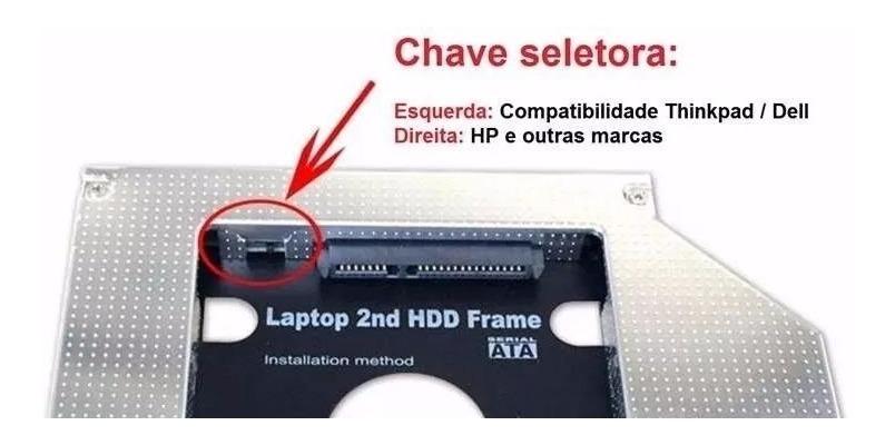 Adaptador Segundo Hd Ssd 25 Sata 3 Caddy Dvd 127mm  Chave - R