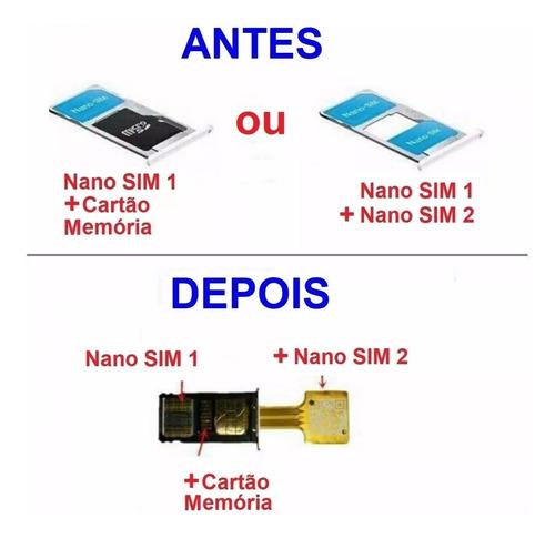 adaptador slot hibrido dual chip micro sd nano e micro chip