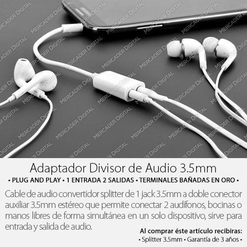 adaptador splitter 3.5mm audífonos divisor conector 2 hembra