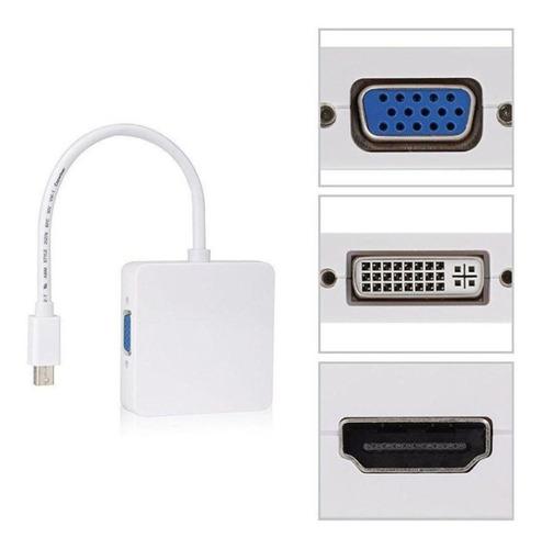adaptador thunderbolt mini displayport 3en1 vga, hdmi y dvi