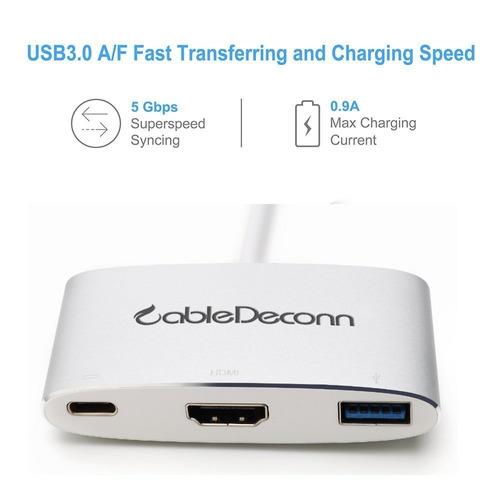 adaptador tipo c, concentrador cabledeconn usb 3.1 (compatib