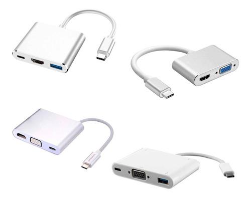 adaptador tipo c  hdmi vga usb 3.0 rj45 macbook
