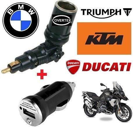 adaptador toma 12v usb moto bmw,triumph,ktm,ducati cargador