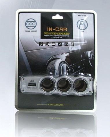 adaptador toma encendedor triple + cargador usb 12v de auto