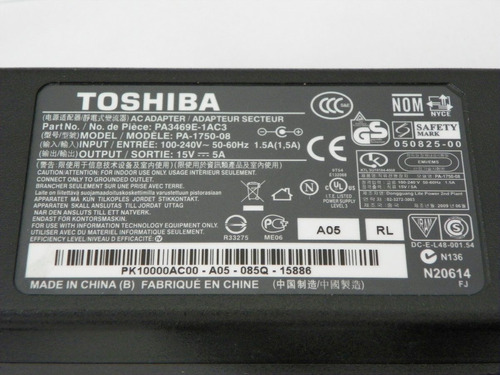 adaptador toshiba 15v 5a  nuevo original