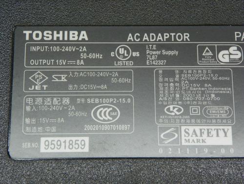adaptador toshiba 15v 8a  original nuevo