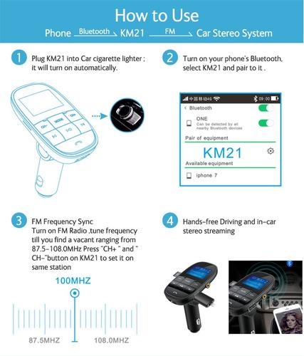 adaptador transmisor bluetooth fm carro mp3 gps usb llamadas