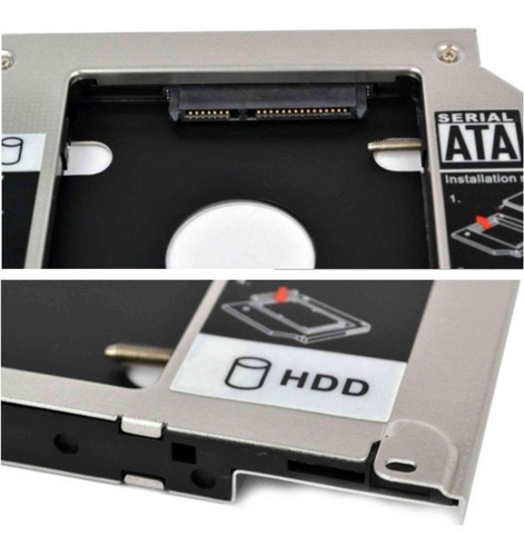 adaptador universal caddy 2º hd ssd/dvd notebook 9mm 9,5mm