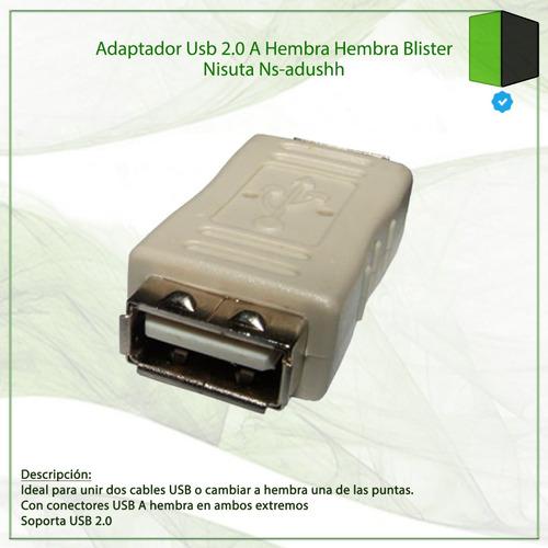 adaptador usb 2.0 a hembra hembra blister nisuta ns-adushh