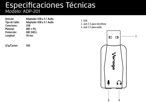 adaptador usb 5.1 2 jacks audio y microfono vorago adp-201