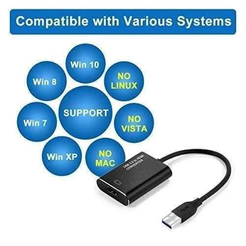 adaptador usb a hdmi, adaptador usb 3.0 a hdmi 1080p,...