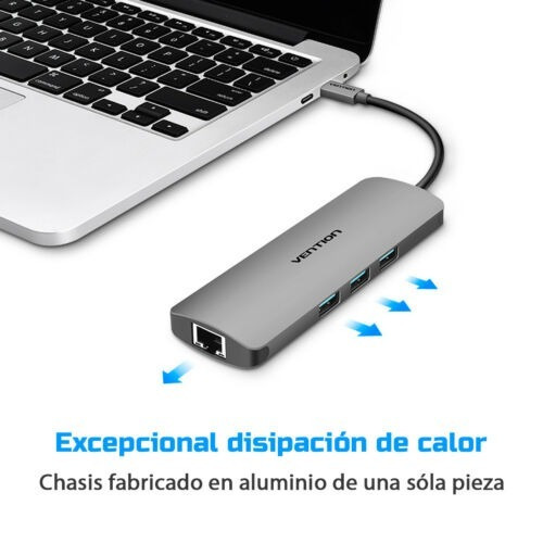 adaptador usb c 3 port usb 3 + gigabit lan ethernet vention