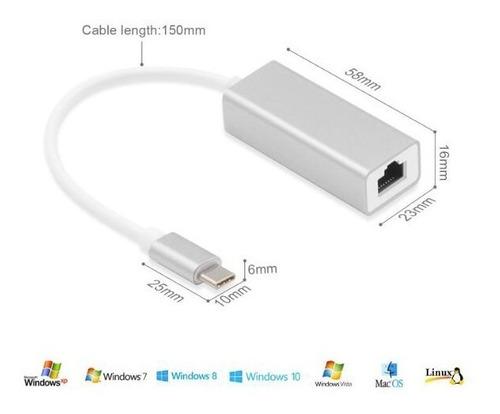adaptador usb c 3.1 a red / ethernet / rj45 / aluminio