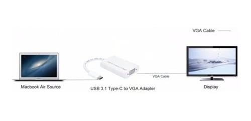 adaptador usb c 3.1 a vga - thunderbolt 3 full hd
